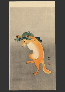 Artist   Koson   (1877-1945)  dancing fox
