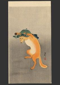 Artist   Koson   (1877-1945)  dancing fox