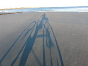 Pete's bike shadow on Long Sands beach sm