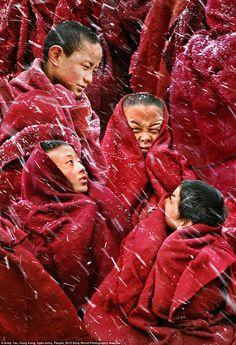monks huddle